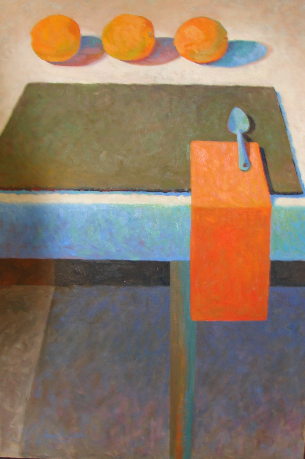 """FOUR ORANGES AND A BLUE SPOON . 32"""" x 24"""" . OIL ON CANVAS"""
