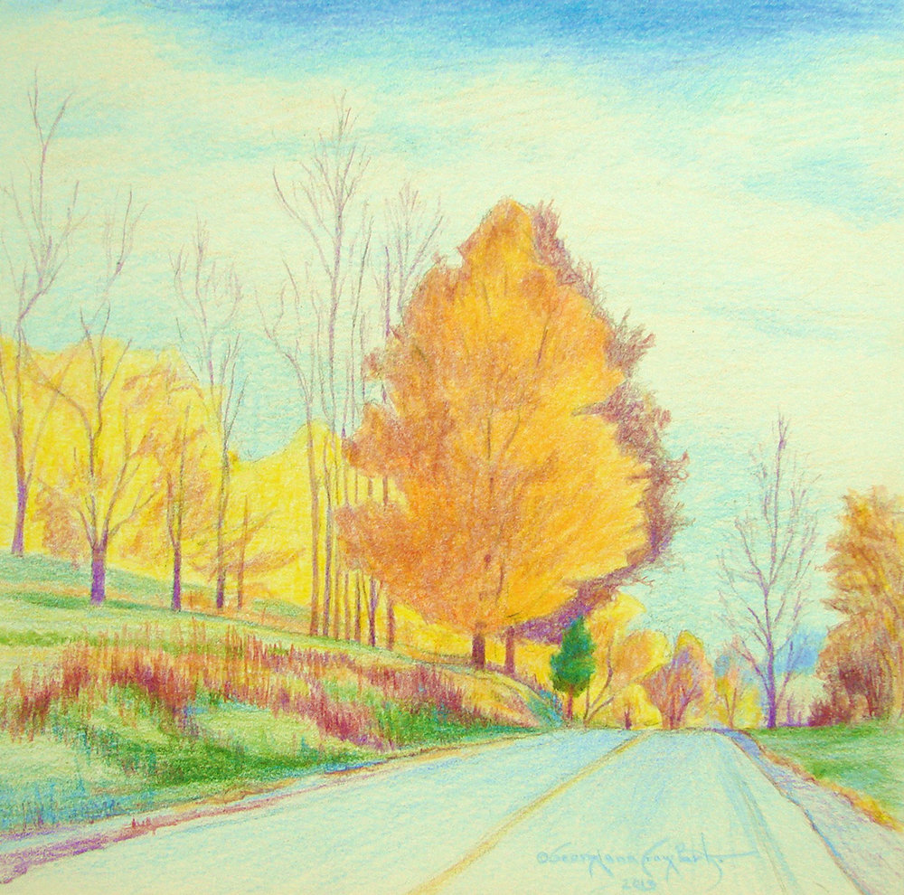"ROAD TO WINE COUNTRY-SENECA LAKE . 14"" x 14"" . COLORED PENCIL"