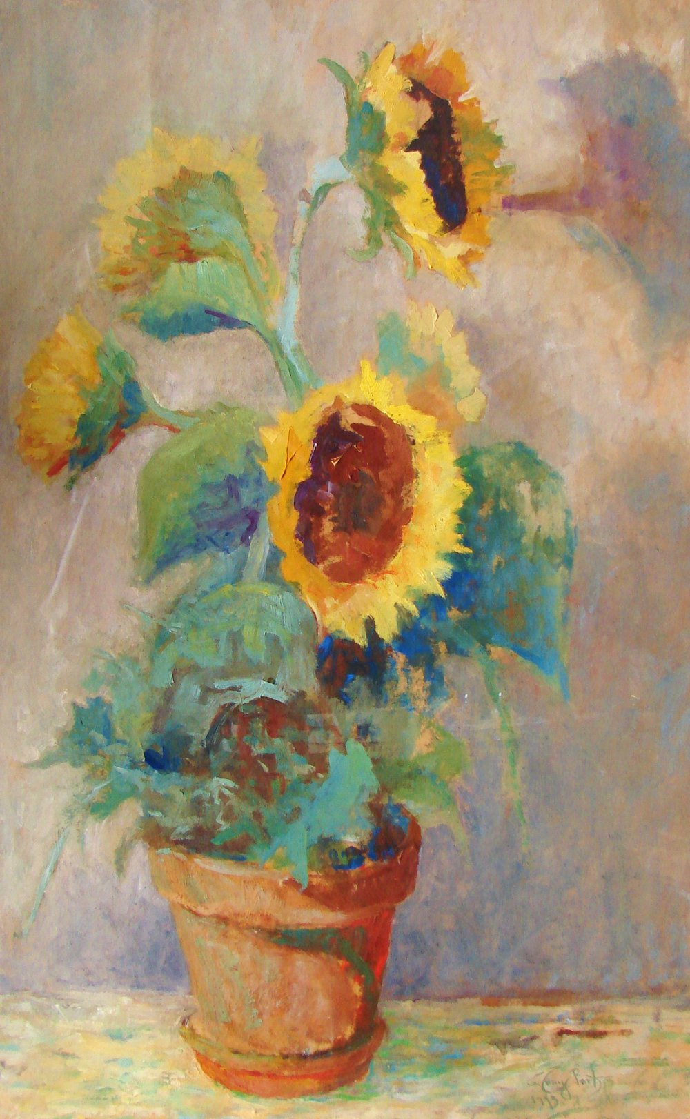 Sunflowers  Oil on paper.JPG