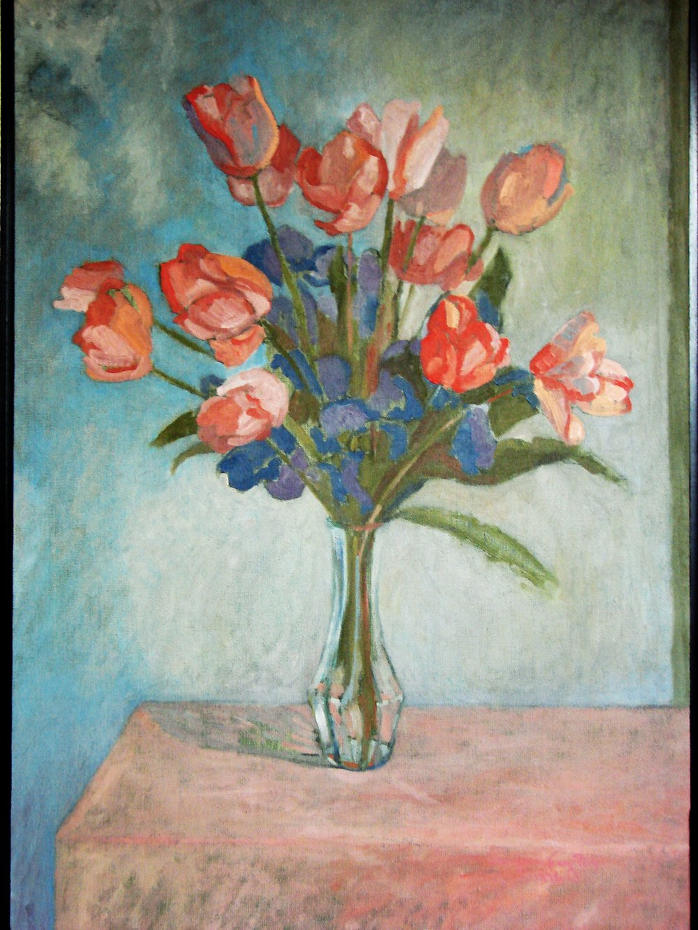 TULIOS WITH IRIS #1 OIL ON CANVAS 24X18.JPG