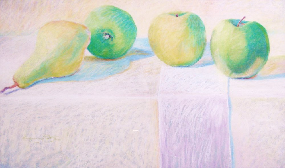 Granny Smth Big - Odd Couple pastel 38x26.JPG