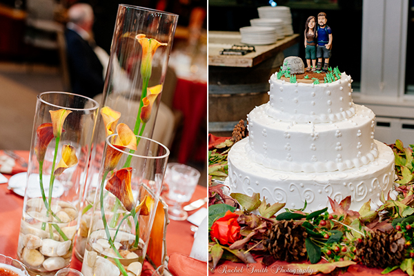 Fall Wedding | Centerpieces and Cake| hiking autumn theme decor by Innovative Party Planners at Chizuk Amuno