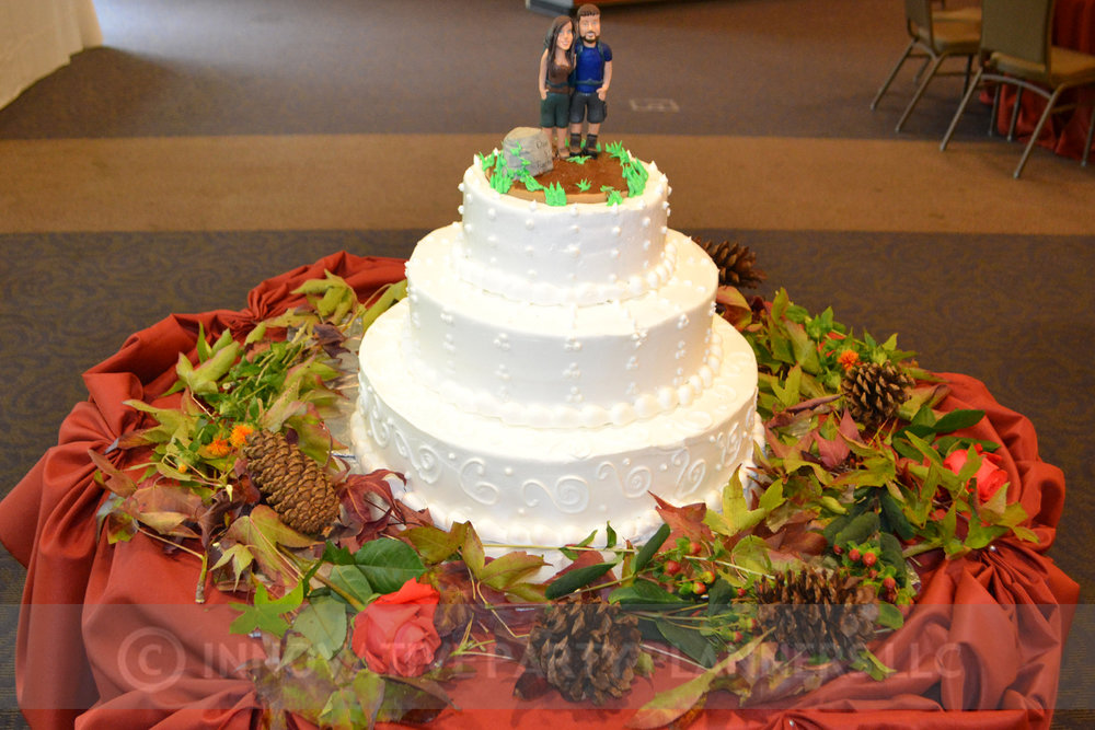 Fall Wedding | Cake | hiking autumn theme decor by Innovative Party Planners at Chizuk Amuno