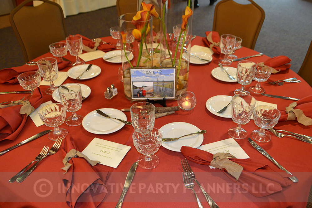 Fall Wedding | Table Setting | hiking autumn theme decor by Innovative Party Planners at Chizuk Amuno