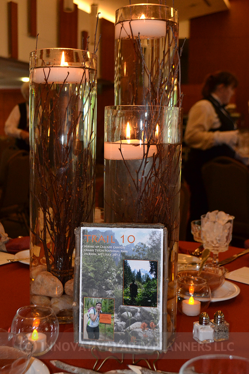 Fall Wedding | Centerpieces | hiking autumn theme decor by Innovative Party Planners at Chizuk Amuno