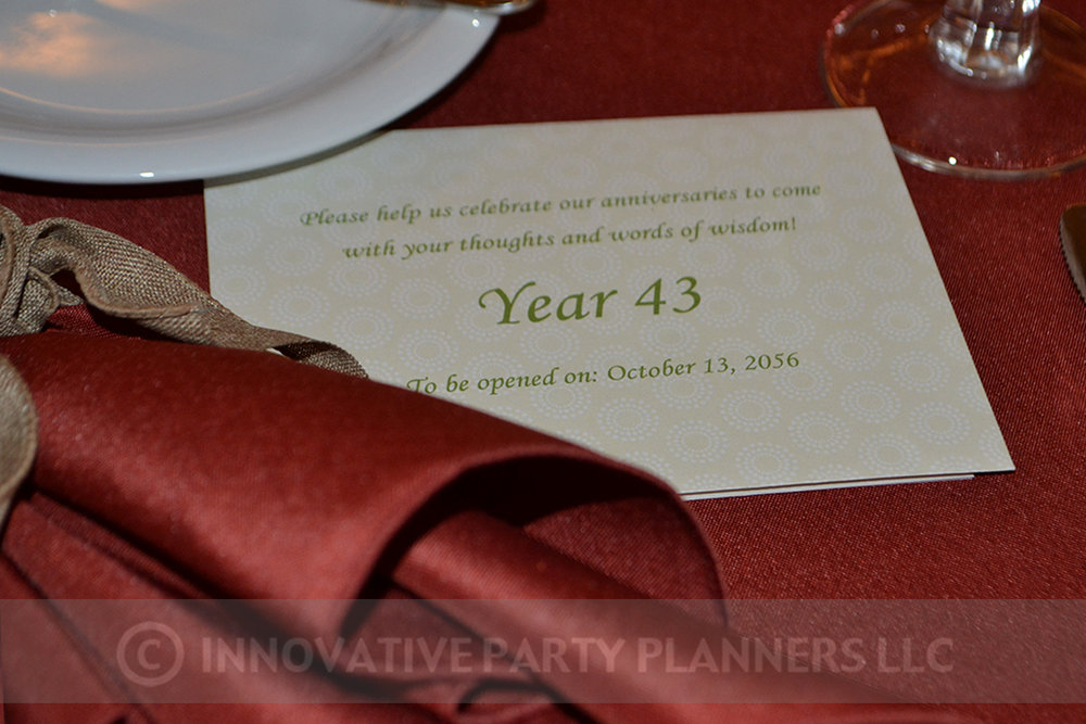 Fall Wedding | Time Capsule Notes | hiking autumn theme decor by Innovative Party Planners at Chizuk Amuno