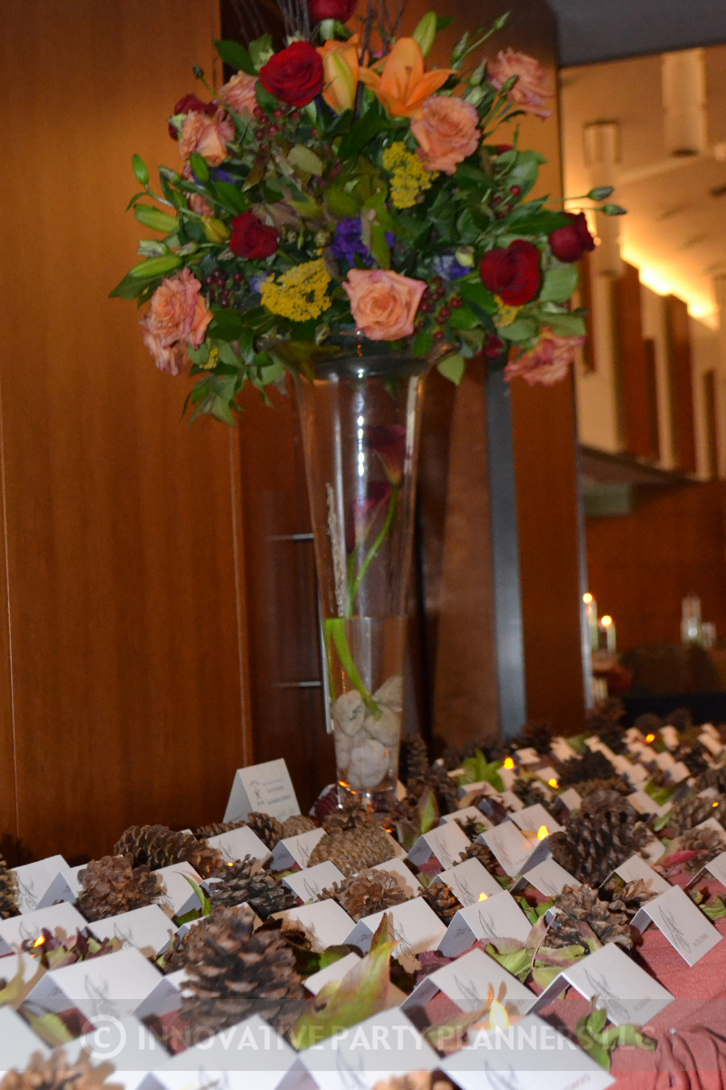 Fall Wedding | Place Card Table| hiking autumn theme decor by Innovative Party Planners at Chizuk Amuno