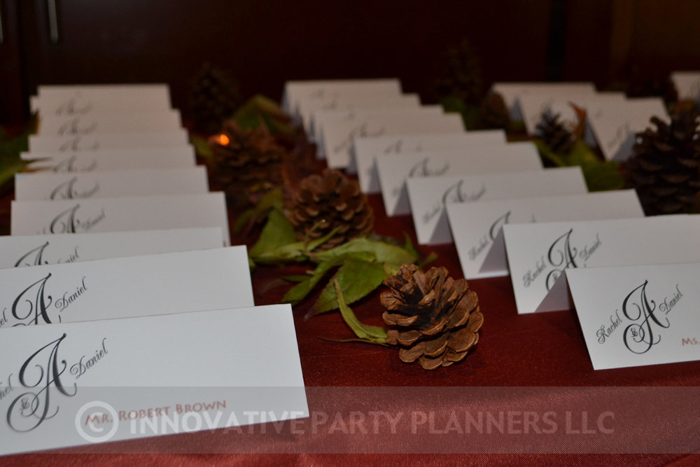 Fall Wedding | Place Cards| hiking autumn theme decor by Innovative Party Planners at Chizuk Amuno