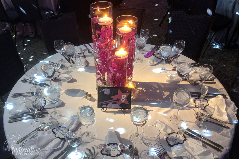 Abbys Starry Night   Submerged Orchids Centerpiece  Bat Mitzvah 'Make a Wish', dream theme, starry night theme, ethereal theme by Innovative Party Planners at Oheb Shalom