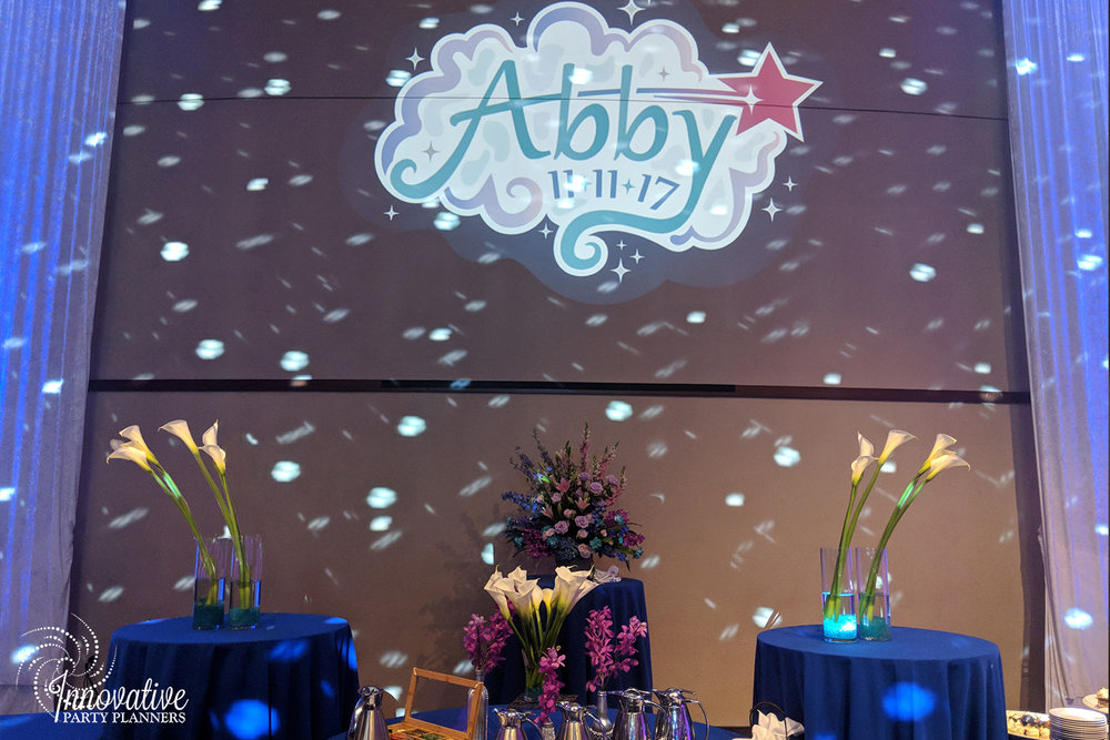 Abbys Starry Night   Party Logo projection   Bat Mitzvah 'Make a Wish', dream theme, starry night theme, ethereal theme by Innovative Party Planners at Oheb Shalom
