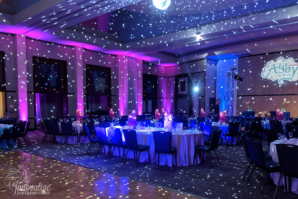 Abbys Starry Night   Room full of stars  Bat Mitzvah 'Make a Wish', dream theme, starry night theme, ethereal theme by Innovative Party Planners at Oheb Shalom