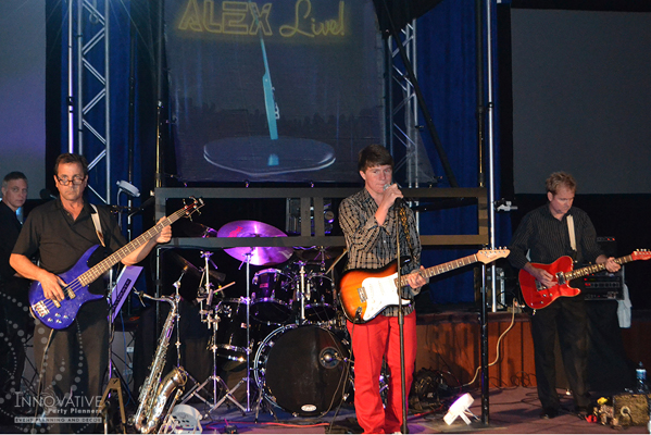 Alex Live in Concert   Playing with the band   Bar Mitzvah concert theme, music theme, singing theme, guitar theme, keyboard theme, decor by Innovative Party Planners at Oheb Shalom