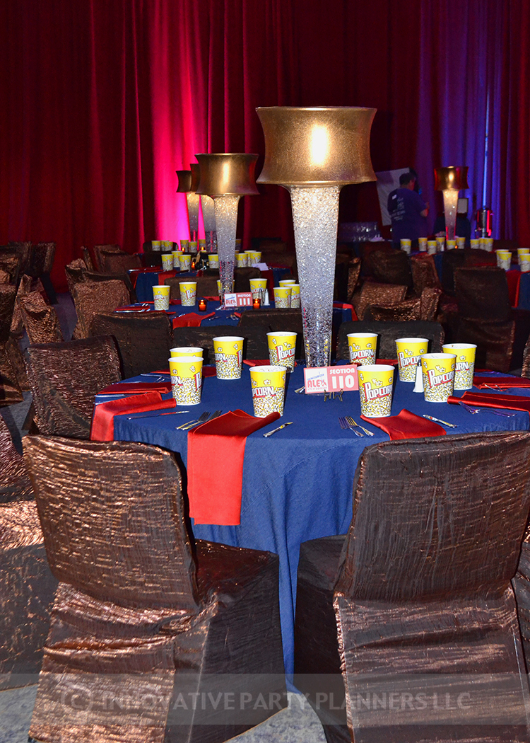 ShalomAlex Live in Concert   Denim Linen and Copper Lamp Shades   Bar Mitzvah concert theme, music theme, singing theme, guitar theme, keyboard theme, decor by Innovative Party Planners at Oheb Shalom