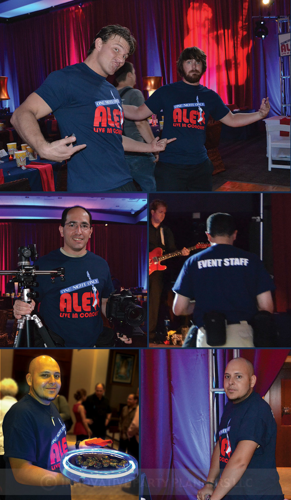 Alex Live in Concert   Staff Concert T-shirts   Bar Mitzvah concert theme, music theme, singing theme, guitar theme, keyboard theme, decor by Innovative Party Planners at Oheb Shalom