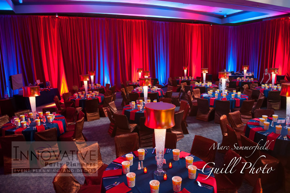 Alex Live in Concert   Red Draping   Bar Mitzvah concert theme, music theme, singing theme, guitar theme, keyboard theme, decor by Innovative Party Planners at Oheb Shalom
