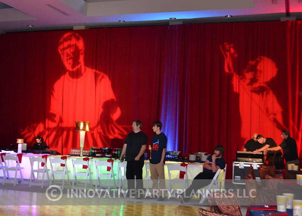 Alex Live in Concert   Larger than life projections  Bar Mitzvah concert theme, music theme, singing theme, guitar theme, keyboard theme, decor by Innovative Party Planners at Oheb Shalom