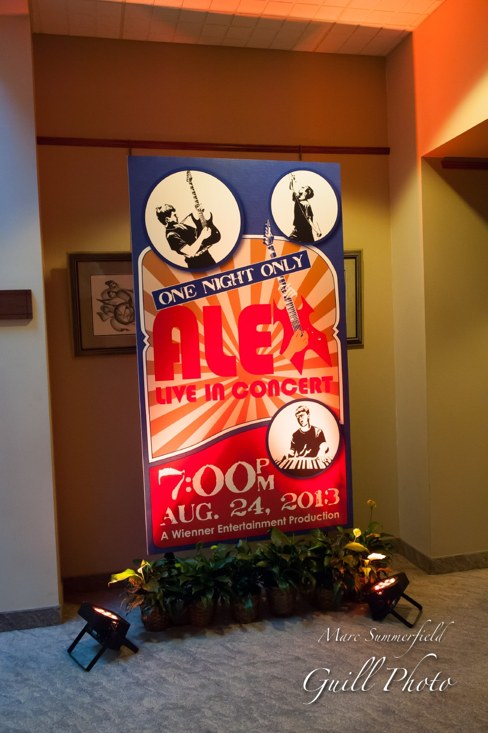 Alex Live in Concert   Welcome Sign   Bar Mitzvah concert theme, music theme, singing theme, guitar theme, keyboard theme, decor by Innovative Party Planners at Oheb Shalom