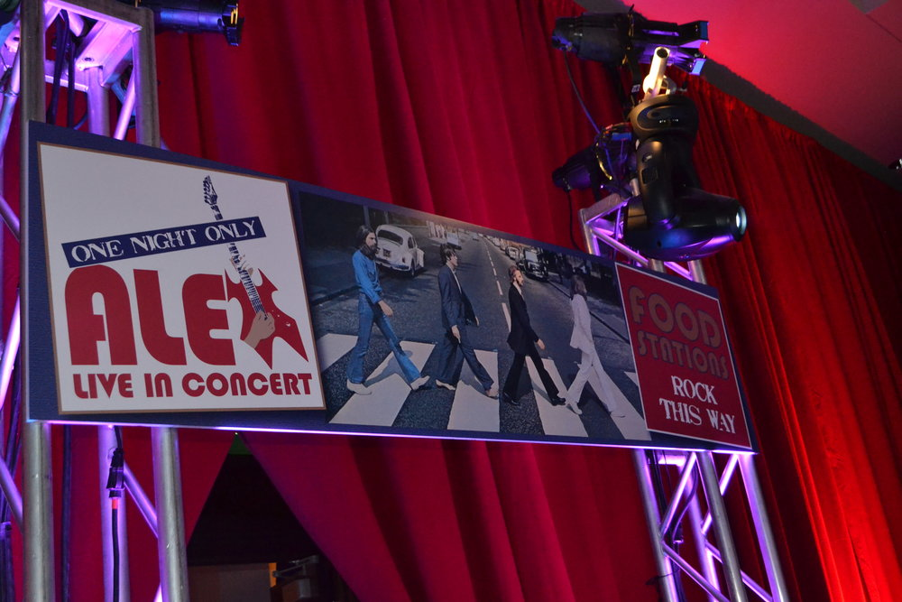 Alex Live in Concert   Sign   Bar Mitzvah concert theme, music theme, singing theme, guitar theme, keyboard theme, decor by Innovative Party Planners at Oheb Shalom
