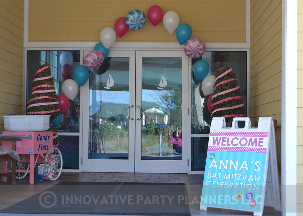 Annas Candy Bar |Entrance | Bat Mitzvah candy theme, candy bar theme, decor by Innovative Party Planners