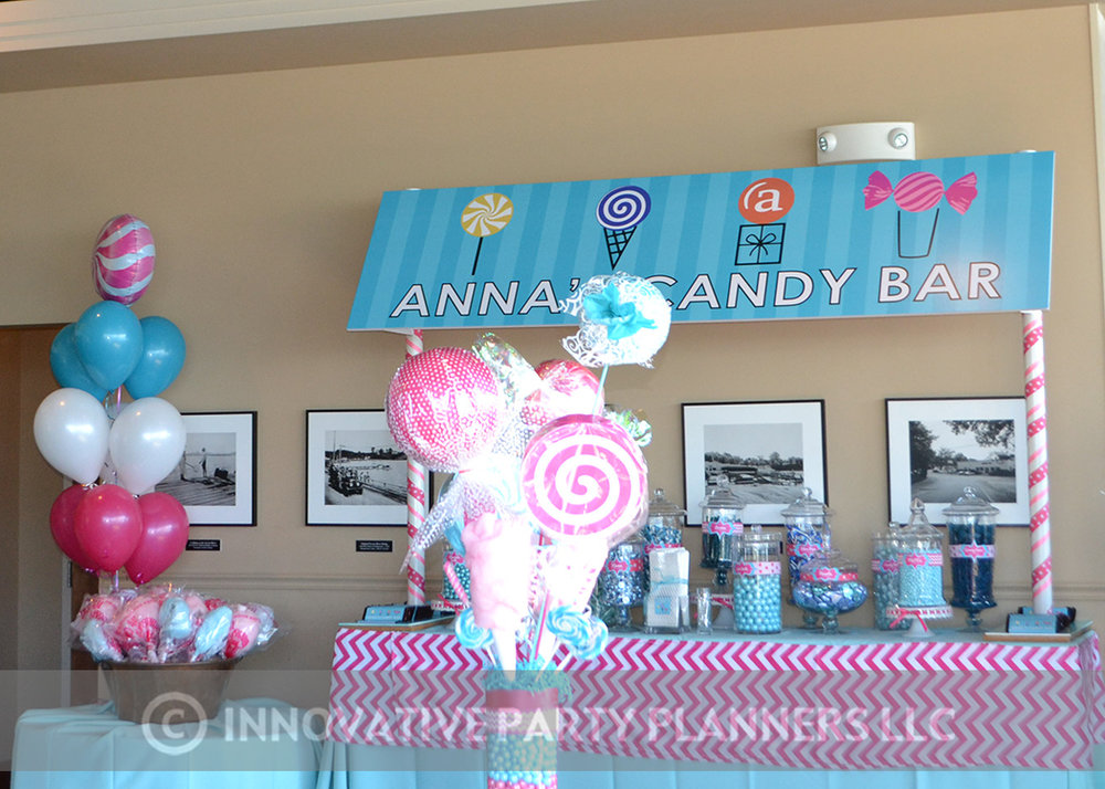 Annas Candy Bar |Candy Bar | Bat Mitzvah candy theme, candy bar theme, decor by Innovative Party Planners
