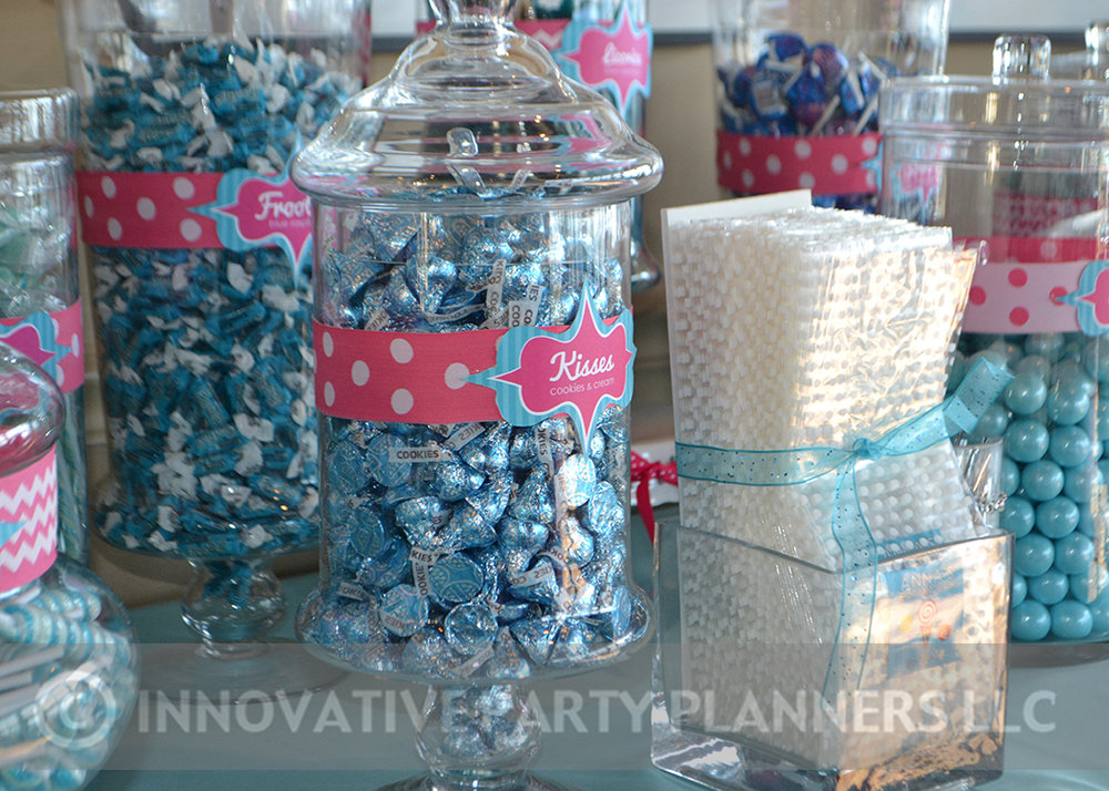 Annas Candy Bar |Candy Bar Candy Jars | Bat Mitzvah candy theme, candy bar theme, decor by Innovative Party Planners