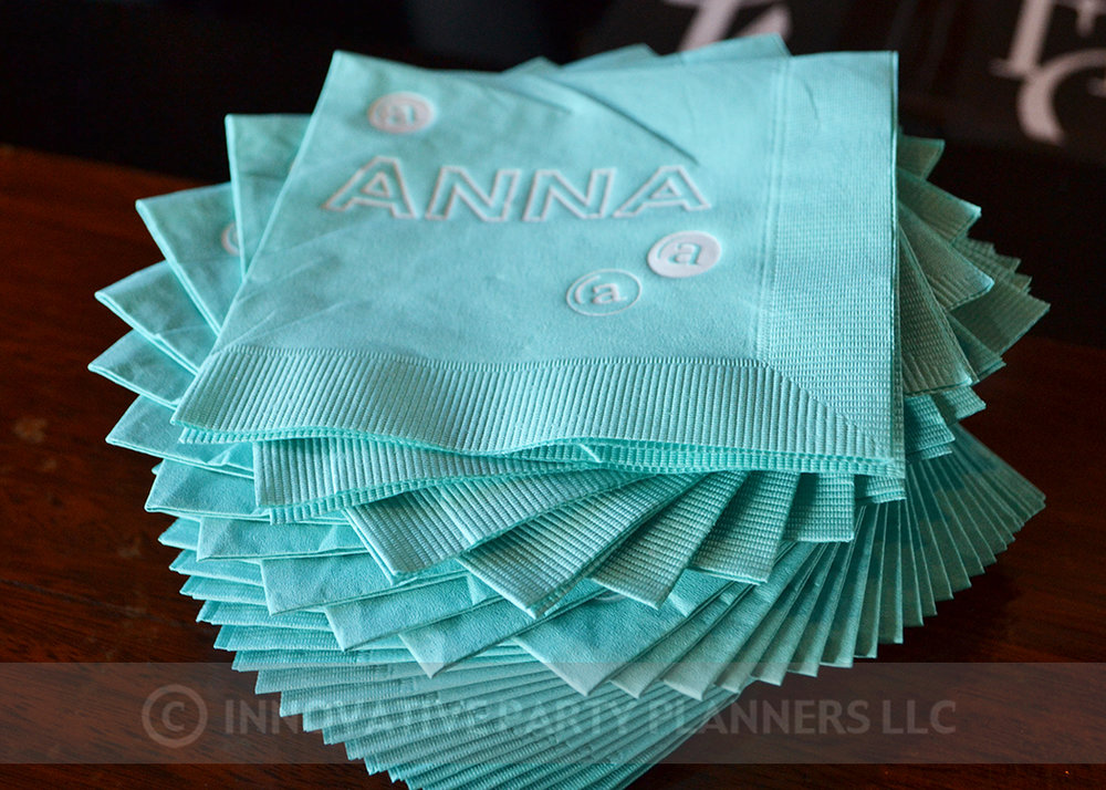 Annas Candy Bar |Custom Cocktail Napkins| Bat Mitzvah candy theme, candy bar theme, decor by Innovative Party Planners