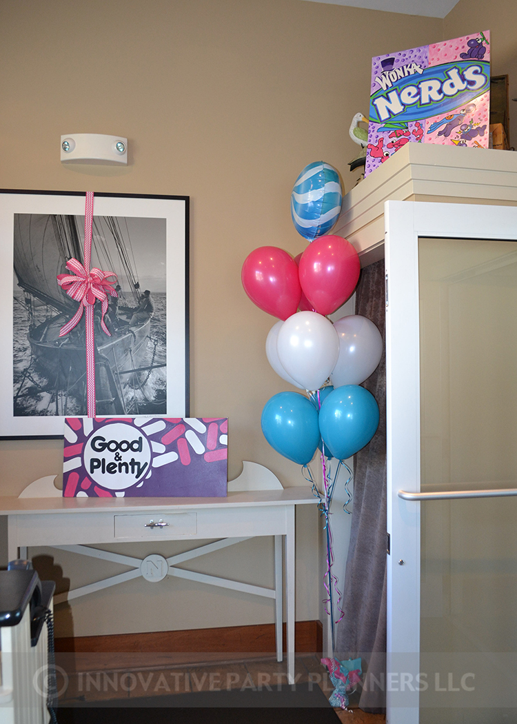 Annas Candy Bar |Balloons and Candy Signs| Bat Mitzvah candy theme, candy bar theme, decor by Innovative Party Planners