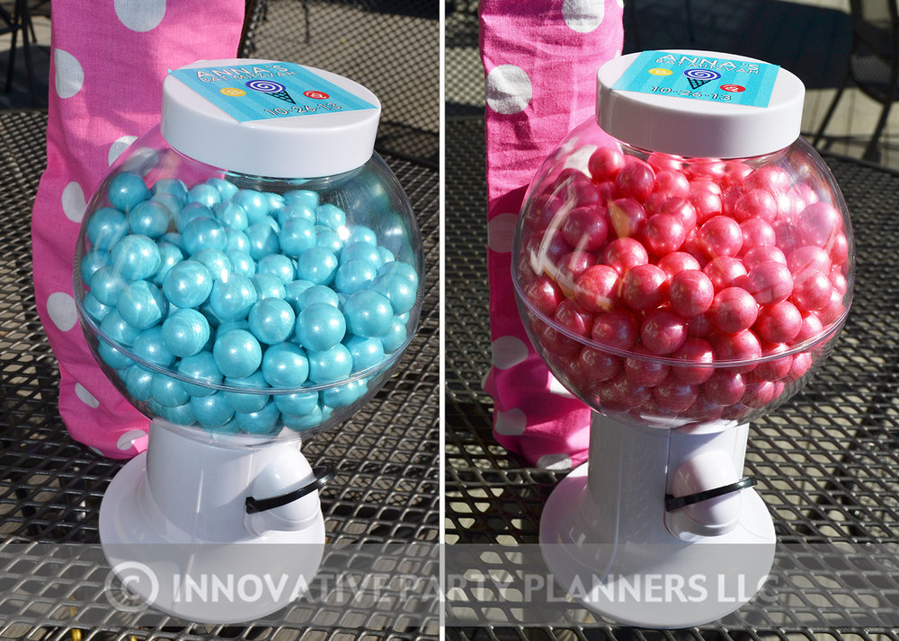 Annas Candy Bar |Gumball Machines | Bat Mitzvah candy theme, candy bar theme, decor by Innovative Party Planners