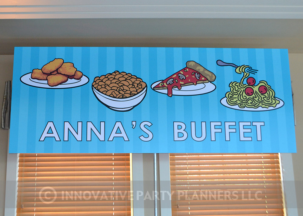 Annas Candy Bar |Buffet Event Sign| Bat Mitzvah candy theme, candy bar theme, decor by Innovative Party Planners