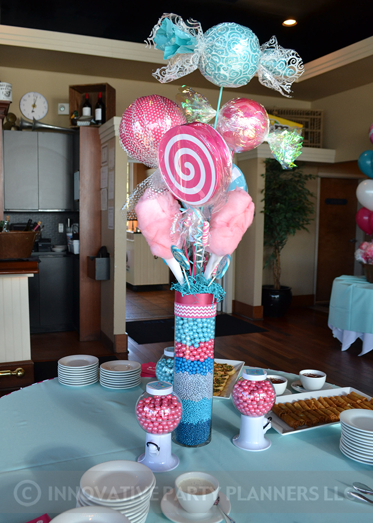 Annas Candy Bar |Candy Centerpieces | Bat Mitzvah candy theme, candy bar theme, decor by Innovative Party Planners