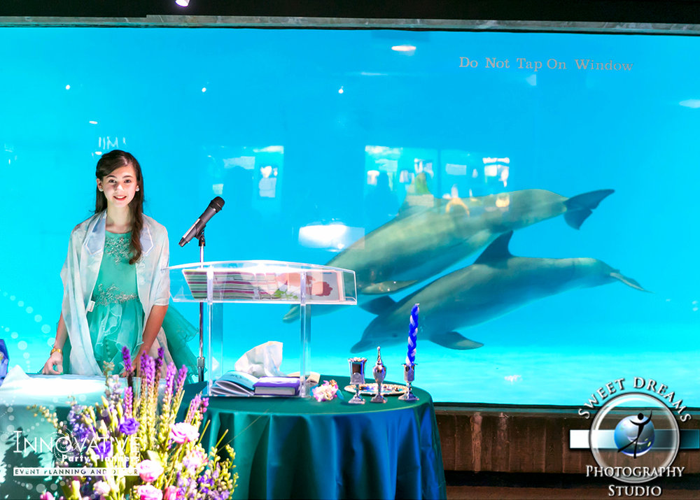Arielles Aquarium   Bat Mitzvah Service  Under the sea, aquarium theme, decor Bat Mitzvah by Innovative Party Planners at the National Aquarium