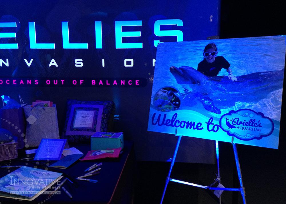 Arielles Aquarium   Gift Table   Under the sea, aquarium theme, decor Bat Mitzvah by Innovative Party Planners at the National Aquarium