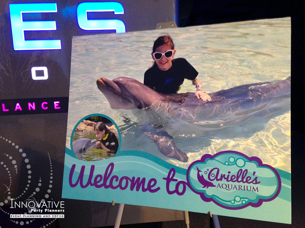 Arielles Aquarium   Welcome Sign   Under the sea, aquarium theme, decor Bat Mitzvah by Innovative Party Planners at the National Aquarium