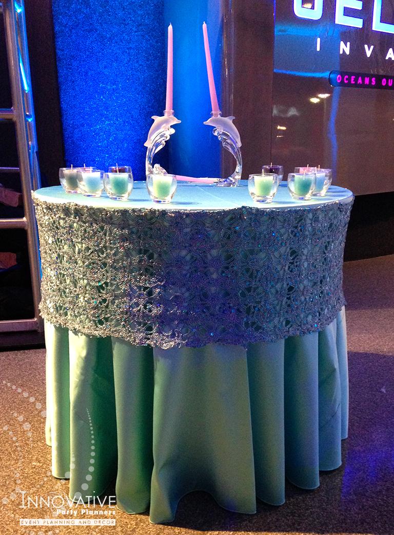 Arielles Aquarium   Candle Lighting Table  Under the sea, aquarium theme, decor Bat Mitzvah by Innovative Party Planners at the National Aquarium
