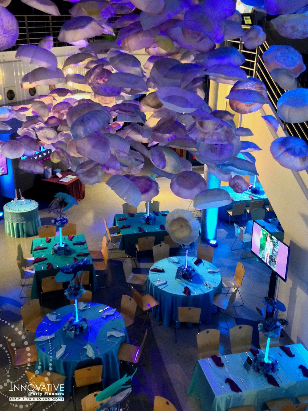 Arielles Aquarium   Bat Mitzvah Tables   Under the sea, aquarium theme, decor Bat Mitzvah by Innovative Party Planners at the National Aquarium