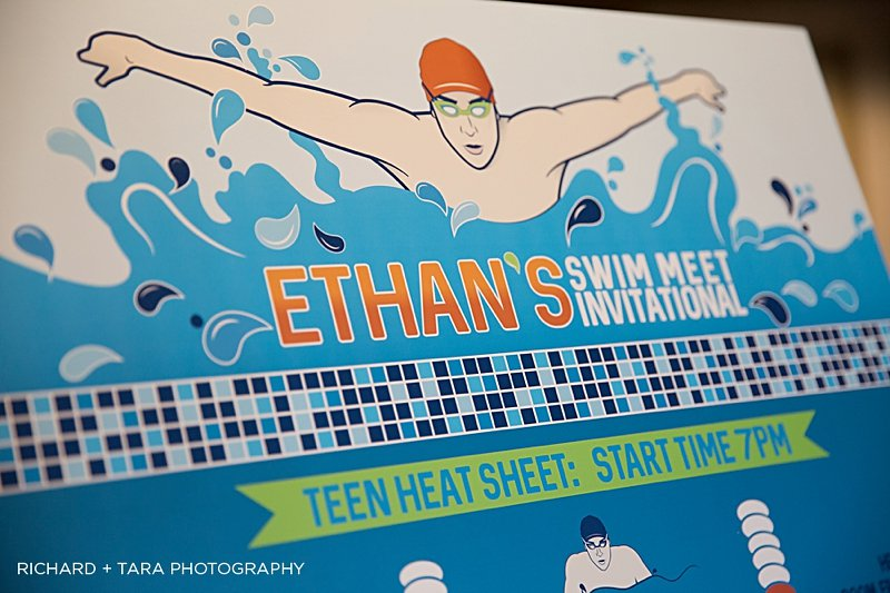 Ethans Swim Meet | Seating Chart | Bar Mitzvah swim theme decor by Innovative Party Planners at Martins Valley Mansion