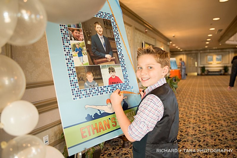Ethans Swim Meet | Sign In Board | Bar Mitzvah swim theme decor by Innovative Party Planners at Martins Valley Mansion