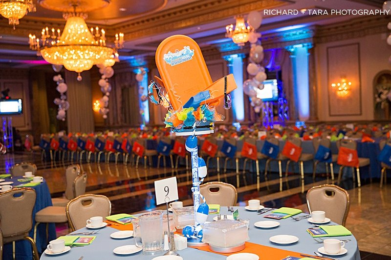 Ethans Swim Meet | Centerpieces | Bar Mitzvah swim theme decor by Innovative Party Planners at Martins Valley Mansion