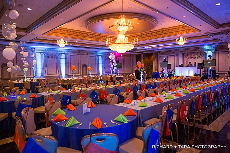 Ethans Swim Meet | Teen Tables | Bar Mitzvah swim theme decor by Innovative Party Planners at Martins Valley Mansion