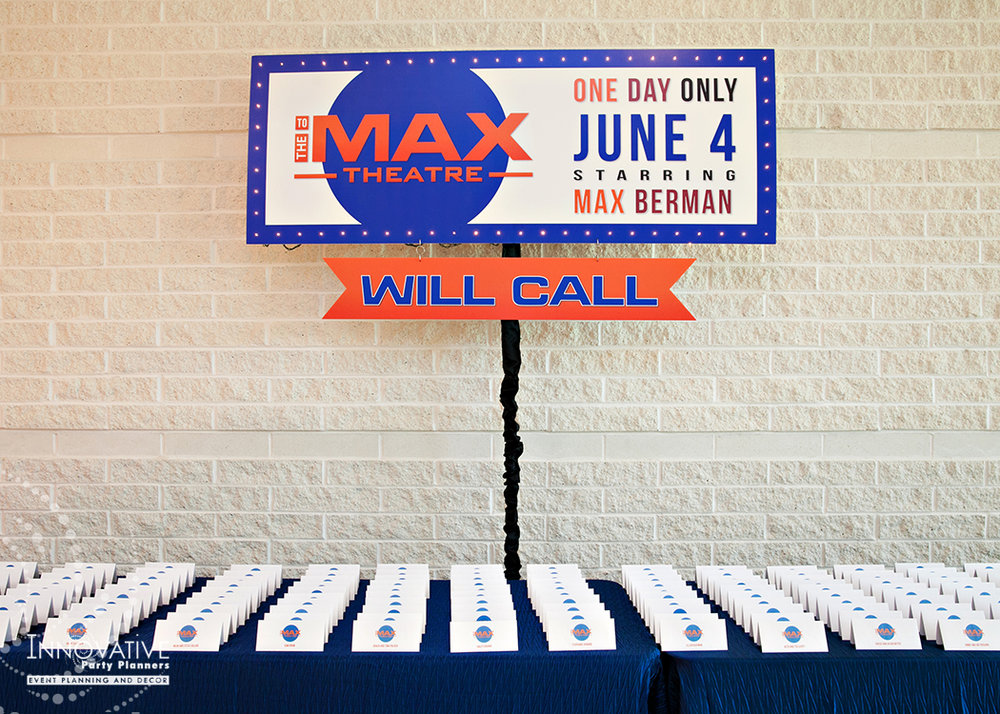 To The Max | Place Card Table | Bar Mitzvah TV theme and movie theme decor by Innovative Party Planners at Temple Beth Ami