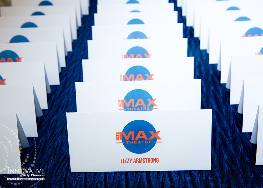 To The Max | Place Cards | Bar Mitzvah TV theme and movie theme decor by Innovative Party Planners at Temple Beth Ami