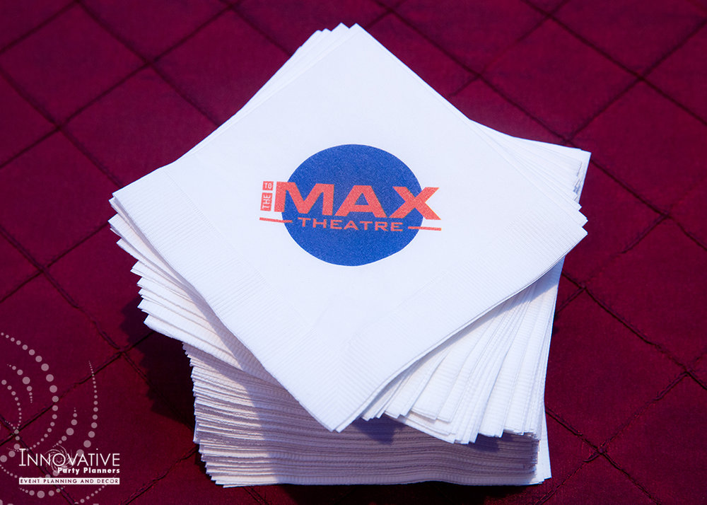 To The Max | Napkins | Bar Mitzvah TV theme and movie theme decor by Innovative Party Planners at Temple Beth Ami