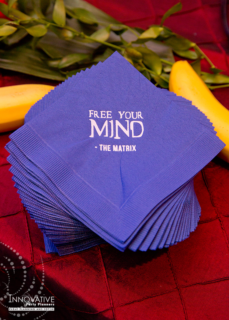 To The Max | The Matrix Napkins | Bar Mitzvah TV theme and movie theme decor by Innovative Party Planners at Temple Beth Ami