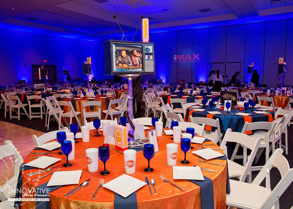 To The Max | Adult Tables | Bar Mitzvah TV theme and movie theme decor by Innovative Party Planners at Temple Beth Ami