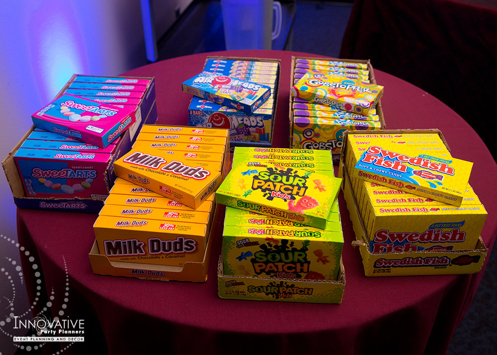 To The Max | Candy Bar | Bar Mitzvah TV theme and movie theme decor by Innovative Party Planners at Temple Beth Ami