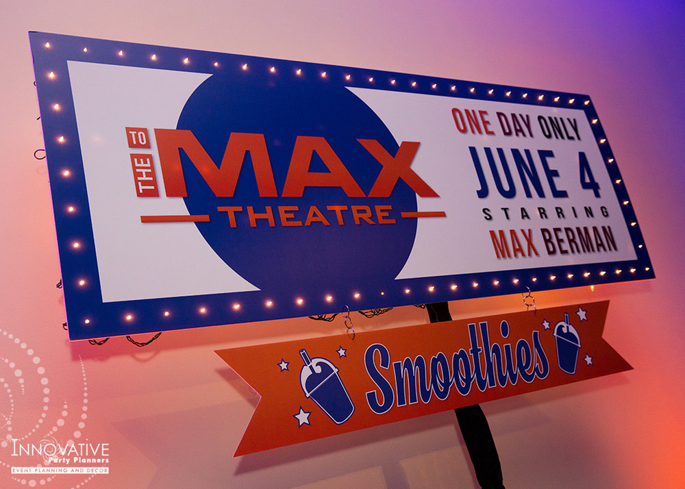 To The Max | Dessert Sign | Bar Mitzvah TV theme and movie theme decor by Innovative Party Planners at Temple Beth Ami