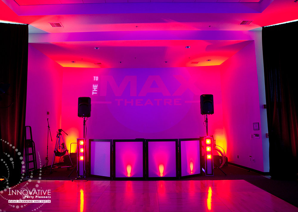 To The Max | Dance Floor | Bar Mitzvah TV theme and movie theme decor by Innovative Party Planners at Temple Beth Ami