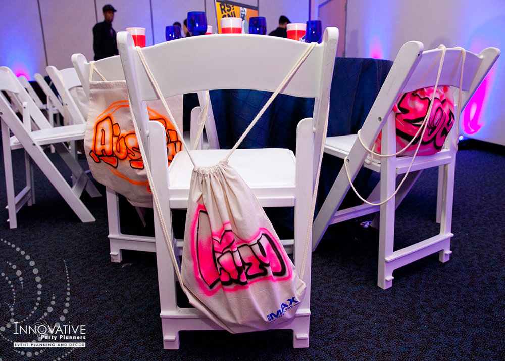 To The Max | Party Favors | Bar Mitzvah TV theme and movie theme decor by Innovative Party Planners at Temple Beth Ami