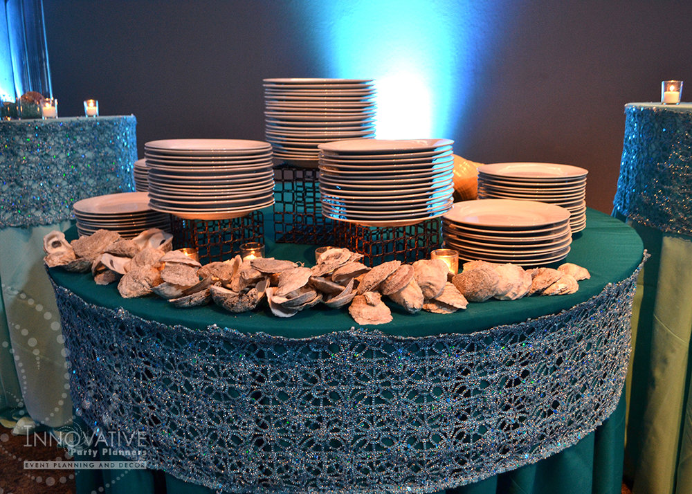Rachaels Fantasea   Buffet Tables   Bat Mitzvah under the sea theme decor by Innovative Party Planners at Oheb Shalom