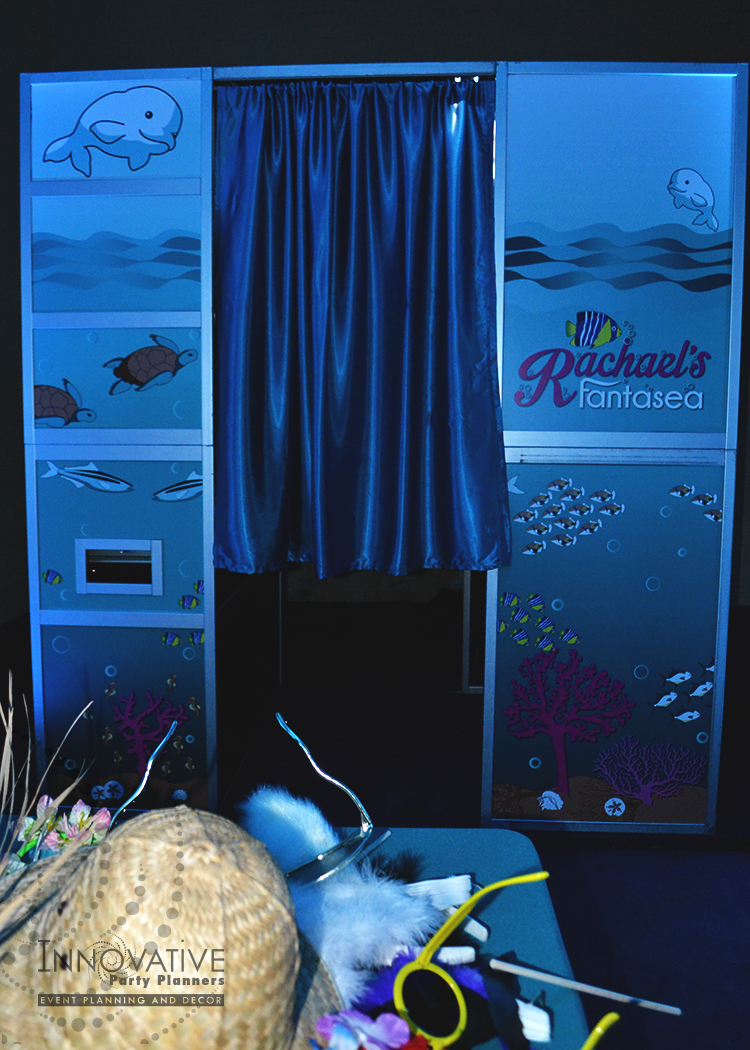 Rachaels Fantasea   Photo Booth   Bat Mitzvah under the sea theme decor by Innovative Party Planners at Oheb Shalom